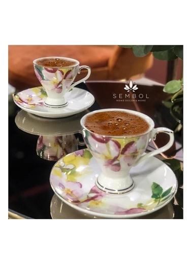 Sembol Bahar Desenlı Porselen 6 Lı Turk Kahve Fıncanı Renkli